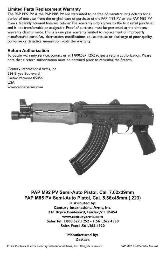Zastava PAP M92 PV / M85 PV – Manual