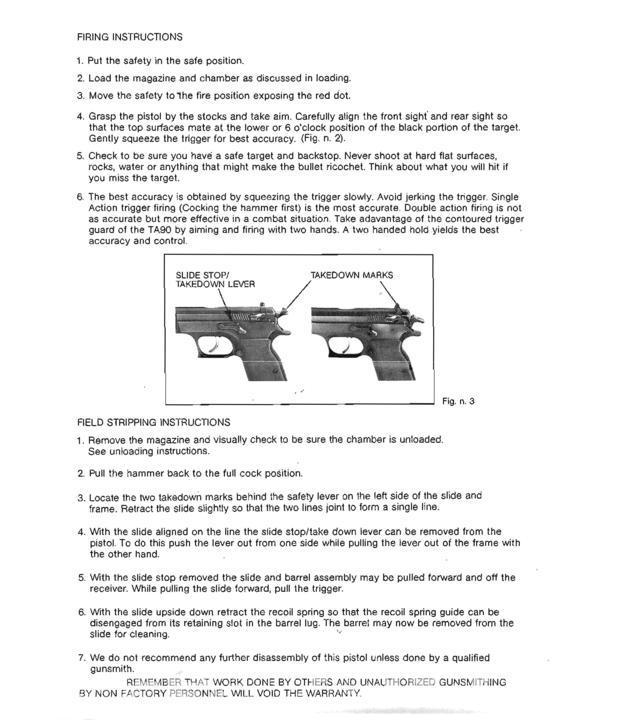 Tanfoglio (Tanarmi) TA-90 – Manual
